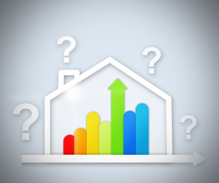 out of context: Question marks above house energy efficient house graphic against a grey background Stock Photo