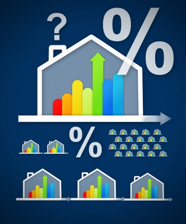 Energy efficient house graphic with percentage and question mark against a blue background photo