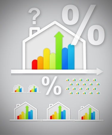 out of context: Energy efficient house graphics with question and percentage marks against grey background Stock Photo
