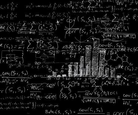 computations: View on blackboard with computations and graphical presentation
