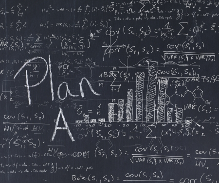 computations: Look at the blackboard with computations for plan A