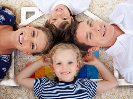 Smiling young family lying on the floor in front of house illustration illustration