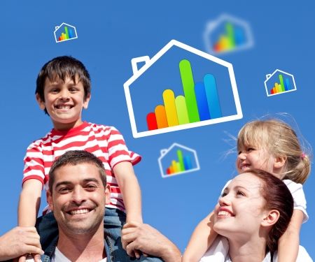 piggyback ride: Parents giving their children piggyback ride with energy efficient house illustrations Stock Photo