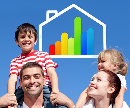 piggyback ride: Smiling parents giving their children piggyback ride with energy efficient house illustration