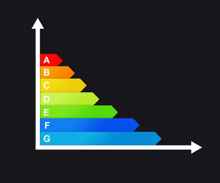 consummation: Graph concerning carbon dioxide consummation of house on black background Stock Photo