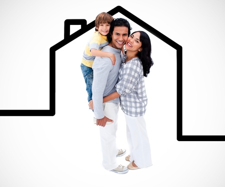 Happy family standing with a house illustration against a white background