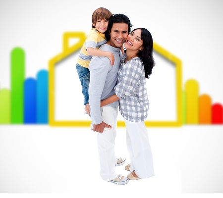 yelow: Happy family standing with a yelow house illustration on a white background