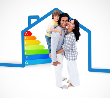 energy rating: Smiling family standing with a blue house illustration with energy rating graphic on a white background