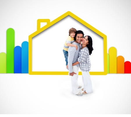 Lovely family standing with a yellow house illustration with energy rating symbol on the white background illustration