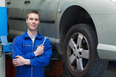 Portrait of male mechanic with spanner standing by car Stock Photo - 18108430