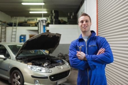 Portrait of confident male mechanic with spanner in workshop Stock Photo - 18109147