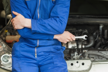 Male mechanic in coveralls leaning on car Stock Photo - 18110490