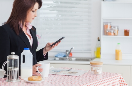 routine: Young business woman text messaging while having breakfast in the kitchen Stock Photo