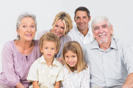 extended family: Family sitting and posing for a picture Stock Photo