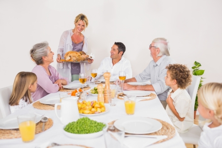 Family watching the roast turkey for dinner photo