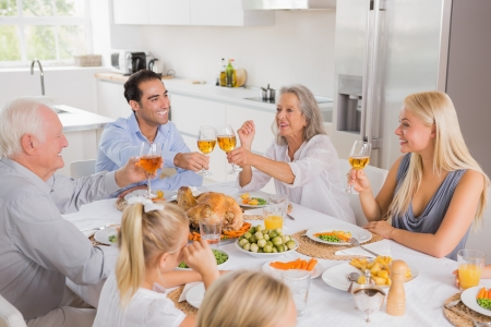 thanksgiving adult: Smiling adults raising their glasses at thanksgiving dinner