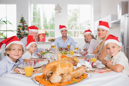 Happy family wearing santa hats around the dinner table at christmas photo