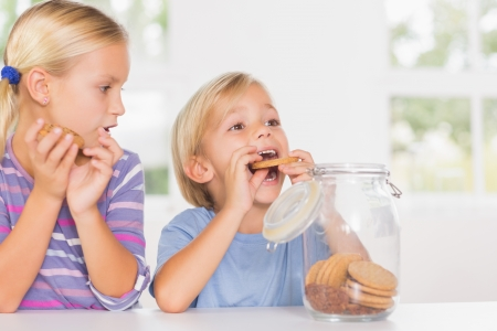 Brother and sister eating biscuits in the kitchen Stock Photo - 18107346