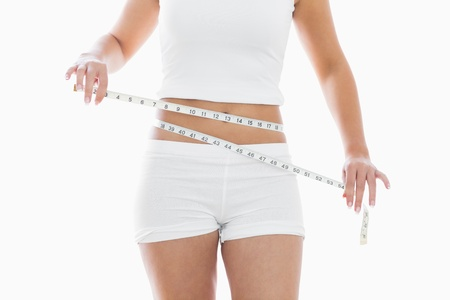 body concern: Midsection of woman measuring waist over white background