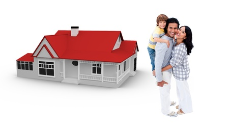 piggyback: Smiling family against their house illustration