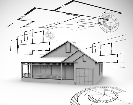 Big house in grey with architect plans around it Stock Photo