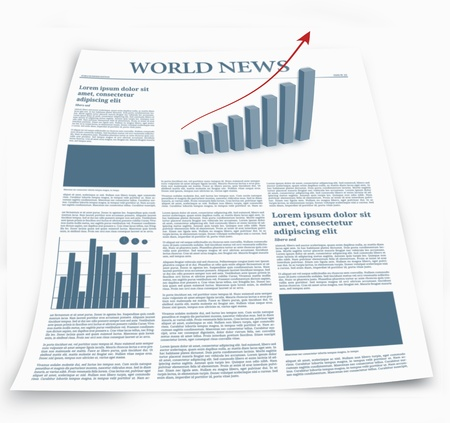 world news: Business newspaper named world news with graphics effects