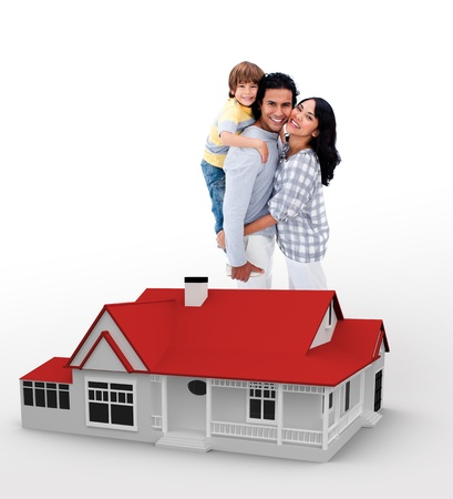 two generation family: Smiling family standing behind a red house illustration