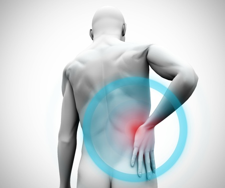 massaging: Digital model with highlighted back pain