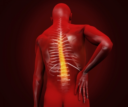 orthopedics: Red digital figure with highlighted back pain on dark background Stock Photo