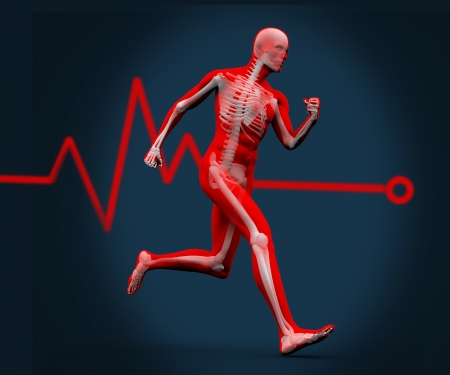 Strong digital body running against a heart rate line photo