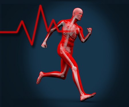orthopedics: Strong digital body running with heart rate graphic Stock Photo