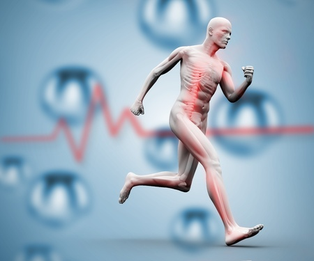 Skeleton running on a digital background against heart rate line photo