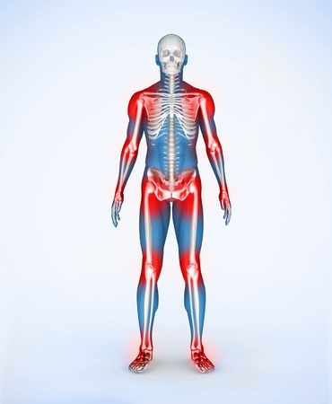 Red joints of a blue digital skeleton body photo