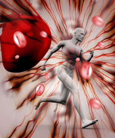 Digital body running against a red digitally background Stock Photo - 18116283