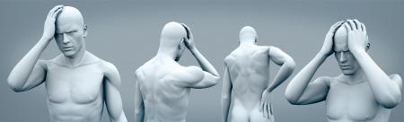 headaches: Four digital bodys having headaches
