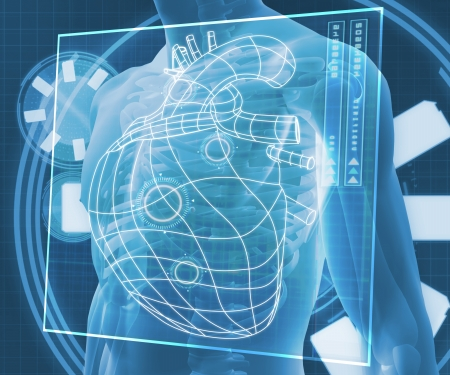 Blue digital body against a blue digital background with heart diagram Stock Photo - 18116294