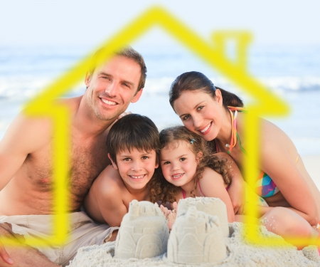 Happy family on a beach with yellow house illustration illustration