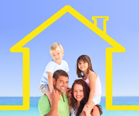Smiling family posing with a yellow house illustration and the sea behind them illustration