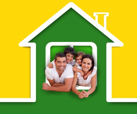 piggyback: Happy family in the green house illustration on yellow background