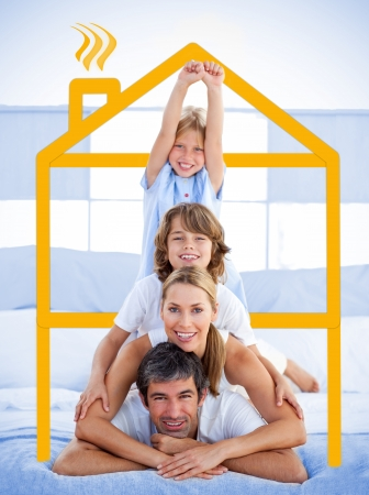 family house: Family having fun in the bedroom with yellow house illustration