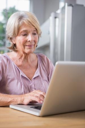 Mujer madura que usa su computadora portátil en casa Foto de archivo - 26725556