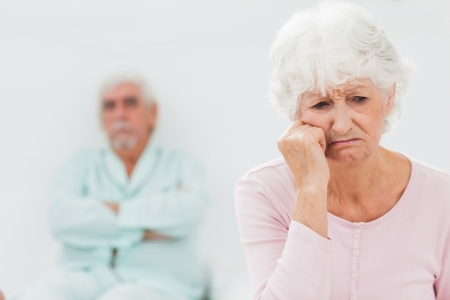 Elderly couple having a dispute in bedroom Stock Photo - 18118290