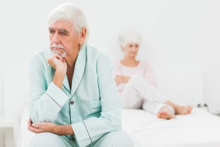 Elderly couple not speaking in bedroom Stock Photo - 18118284