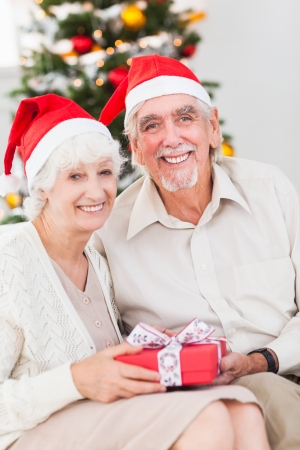 swapping: Smiling old couple swapping christmas gifts on the couch