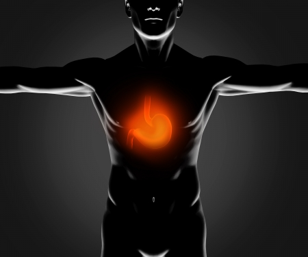 Black figure with highlighted stomach on black background Stock Photo - 18118577