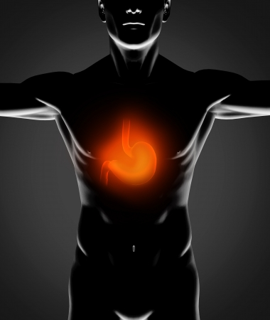 Black human figure with red stomach on black background Stock Photo - 18118563