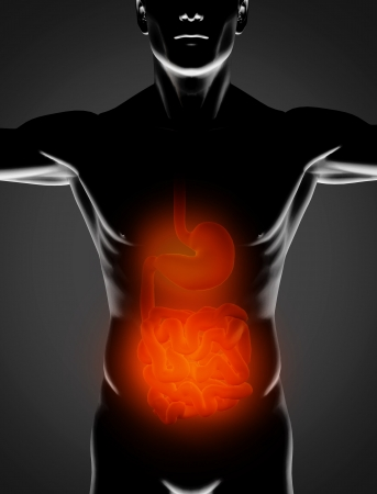 Black man with red stomach and small intestine highlighted on black background Stock Photo - 18118565