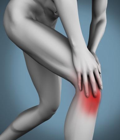 Knee pain on white human figure photo