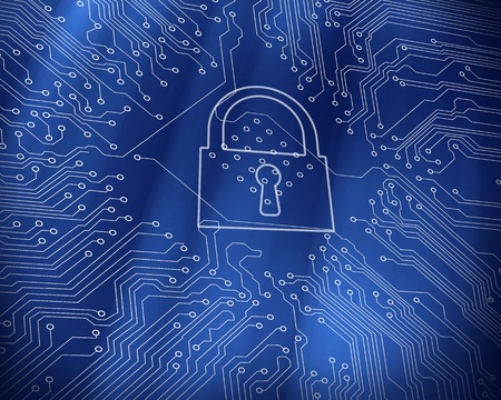 proportionate: Digital lock on blue circuit board technology background