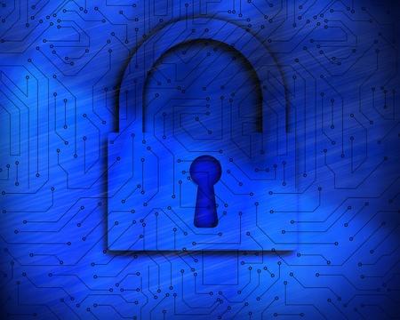 proportionate: Blue lock on digital background